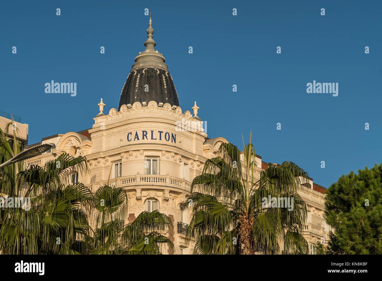 Carlton Hotel, Cannes, Alpes Maritimes, Cote D'Azur, Provence, Frankreich Stockbild