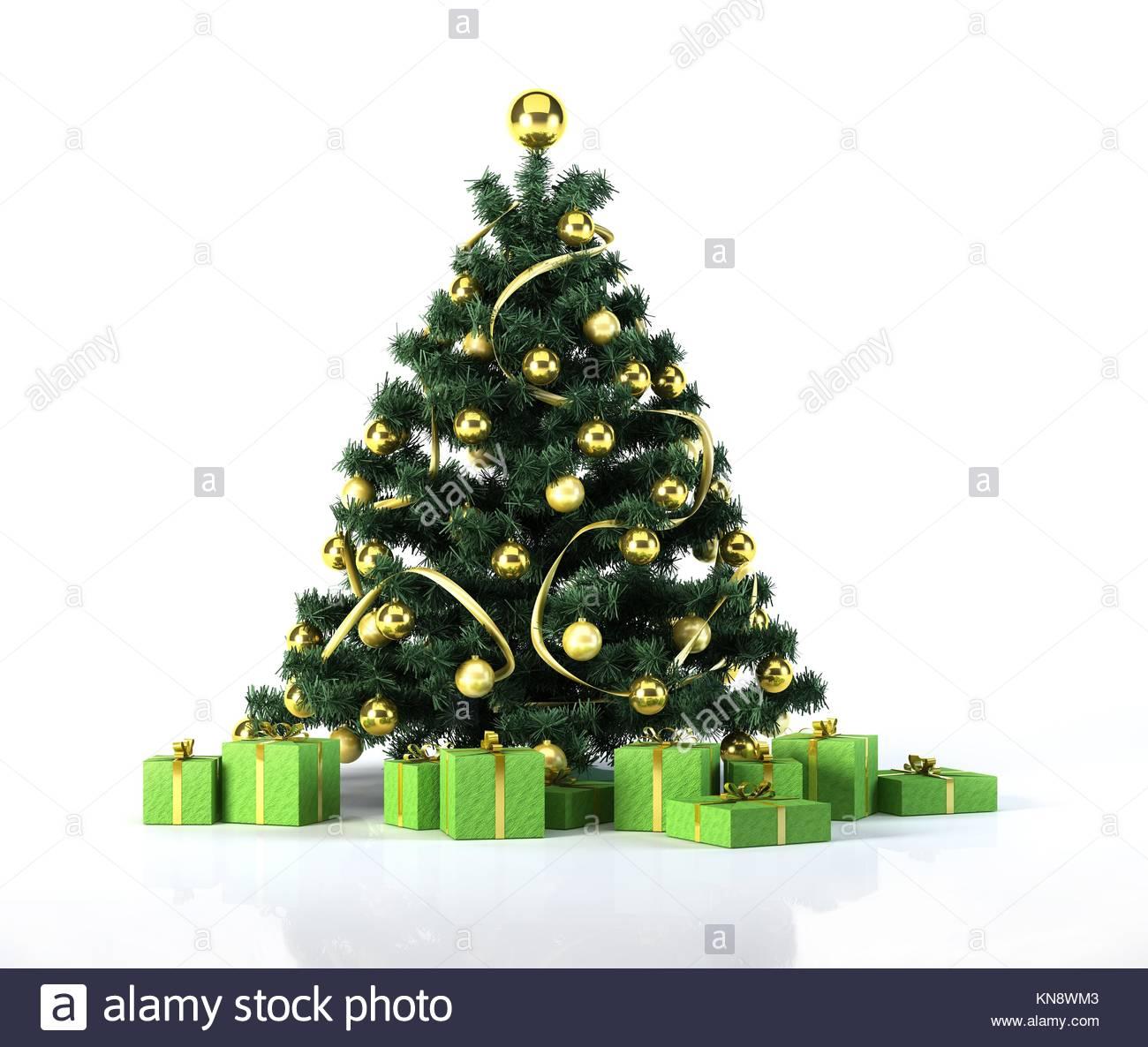 weihnachtsbaum mit goldenen kugeln und dekoration. Black Bedroom Furniture Sets. Home Design Ideas