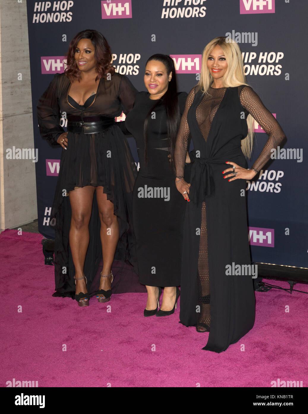New York, NY - 11. Juli 2016: Salt-N-Pepa: DJ Spinderella, Cheryl James, Sandra Pepa Denton besuchen 2016 VH1 Hip Stockbild