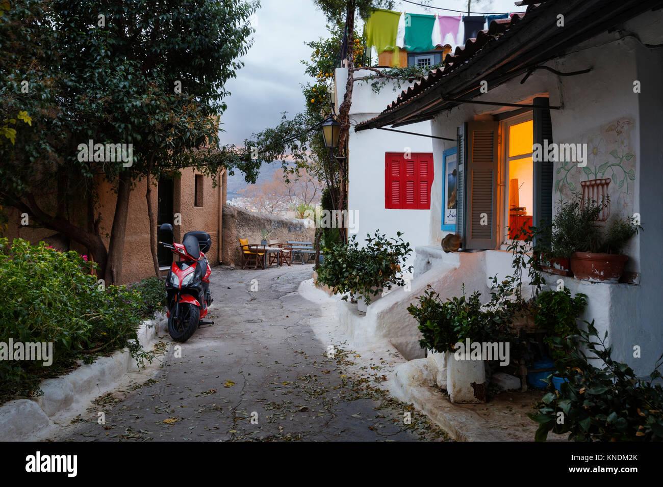 Anafiotika Nachbarschaft in der Altstadt von Athen, Griechenland. Stockbild