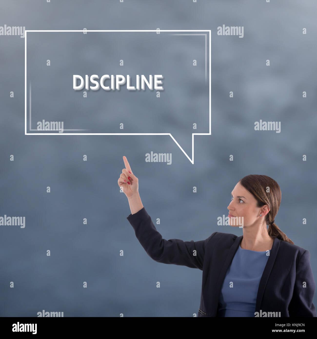 Disziplin ist das Konzept. Business Woman grafisches Konzept Stockbild