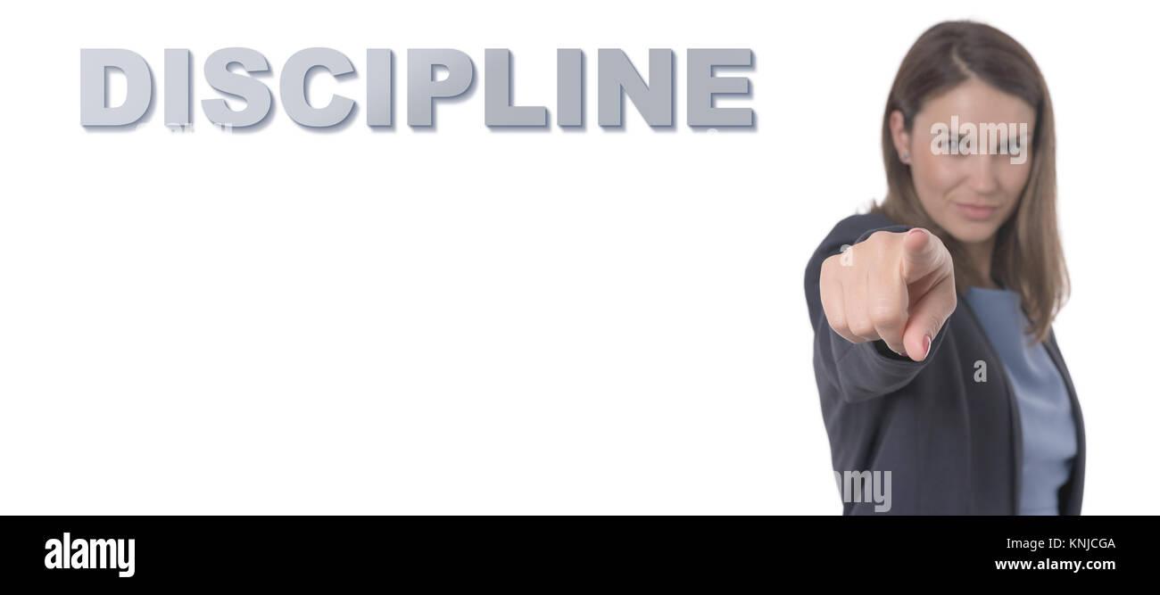 Business Frau zeigt den Text Disziplin Geschäftskonzept. Stockbild