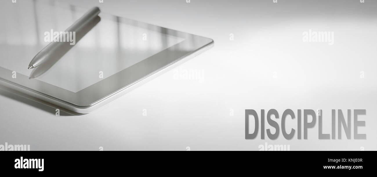 Disziplin ist das Konzept der digitalen Technologie. Grafisches Konzept. Stockbild