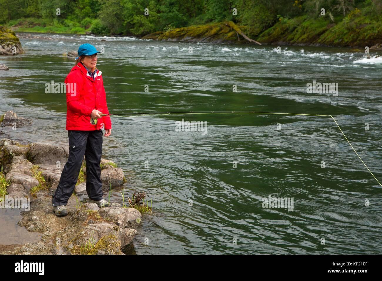 Fliegenfischen der McKenzie River, Greenwood County Park, Lane County, Oregon. Stockbild