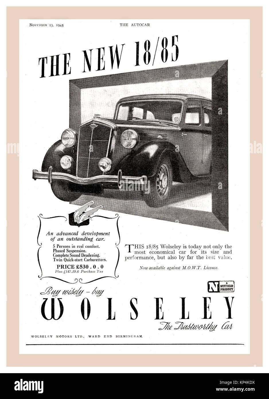 Vintage 30's/40's Autocar Seite Werbung für Wolseley 18/85 (1938 bis 1948) motorcar der Wolseley 18/85 Stockbild