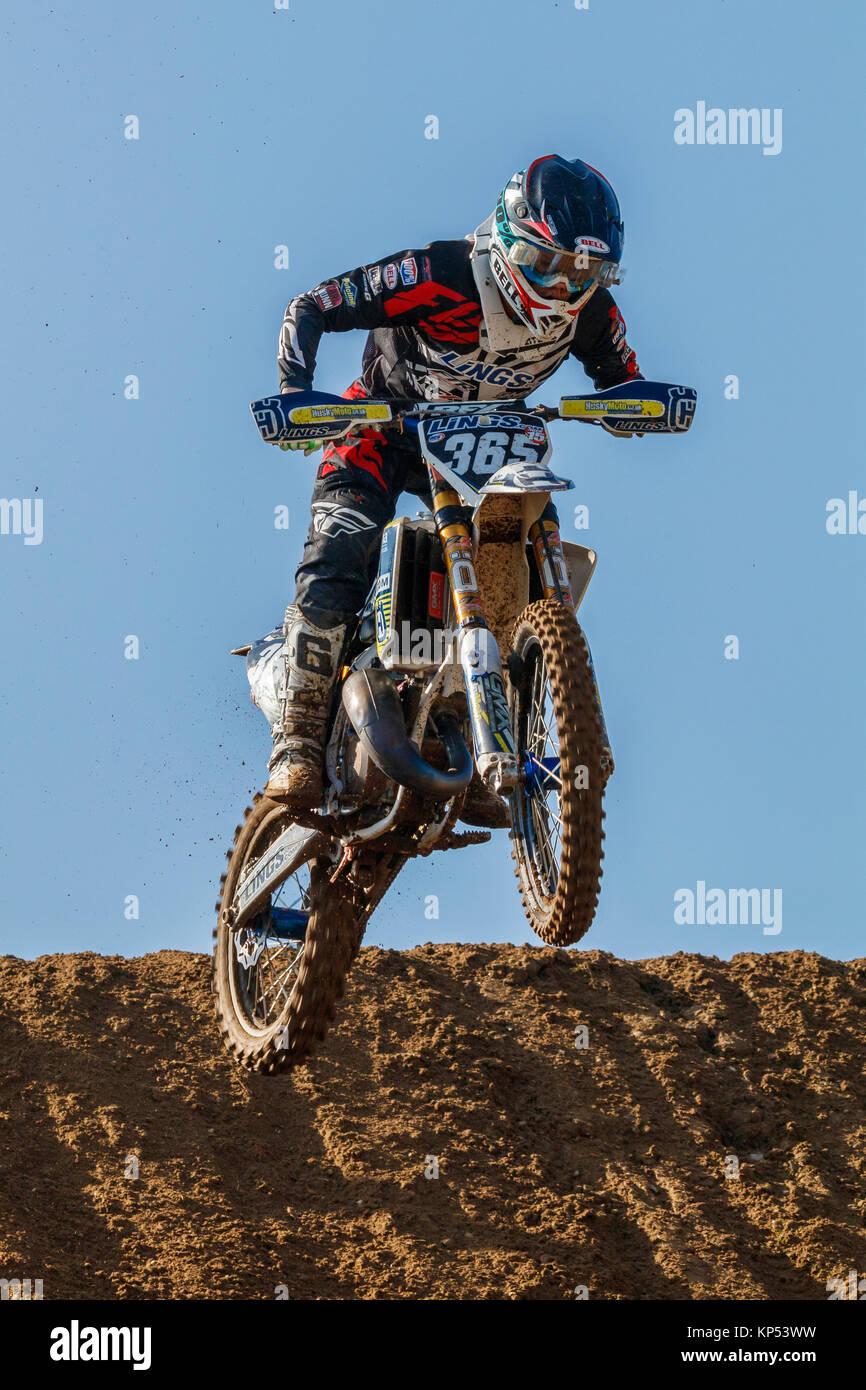 Sam Nunn auf der Lings Husvarna MXY2 an den Maxxis British Motocross Championship, Lyng, Cadders Hill, Norfolk, Stockbild