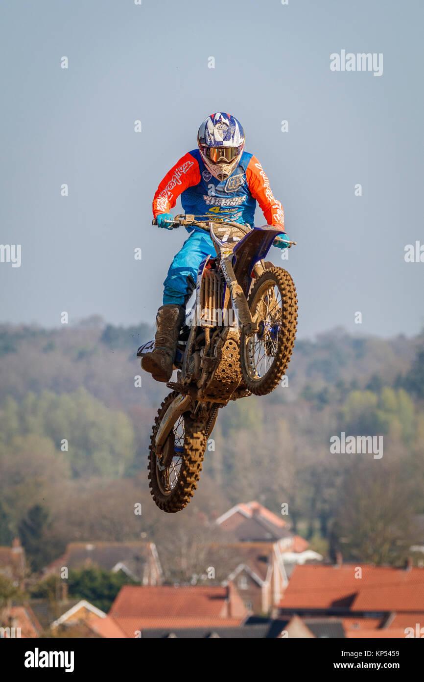 Sam Ongley auf der MXY2 Yamaha an den Maxxis British Motocross Championship, Lyng, Cadders Hill, Norfolk, Großbritannien. Stockbild