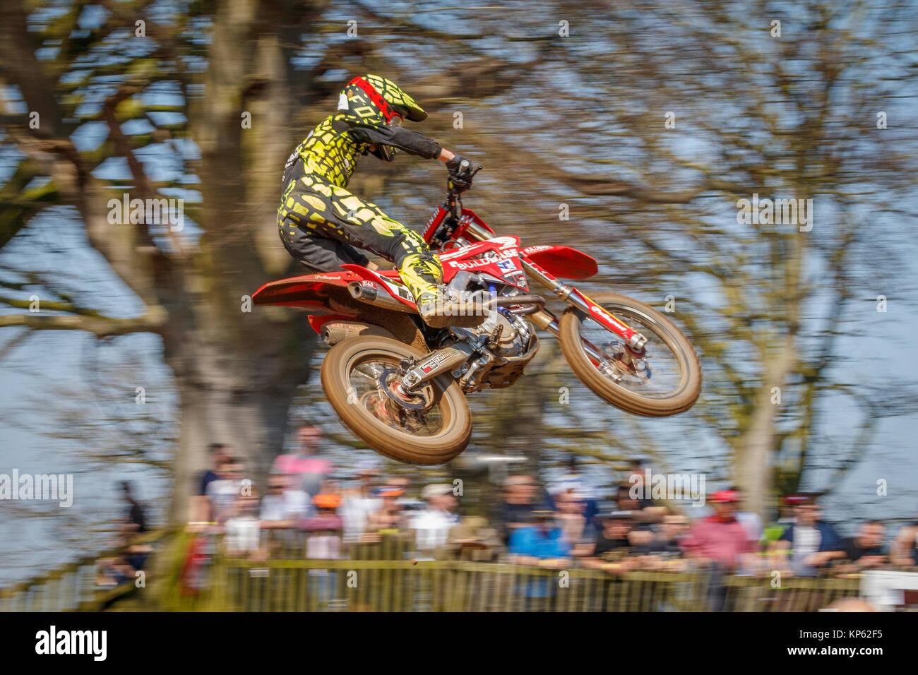 Martin Barr auf der Buildbase Honda Racing MX2 an den Maxxis British Motocross Championship, Lyng, Cadders Hill, Stockbild