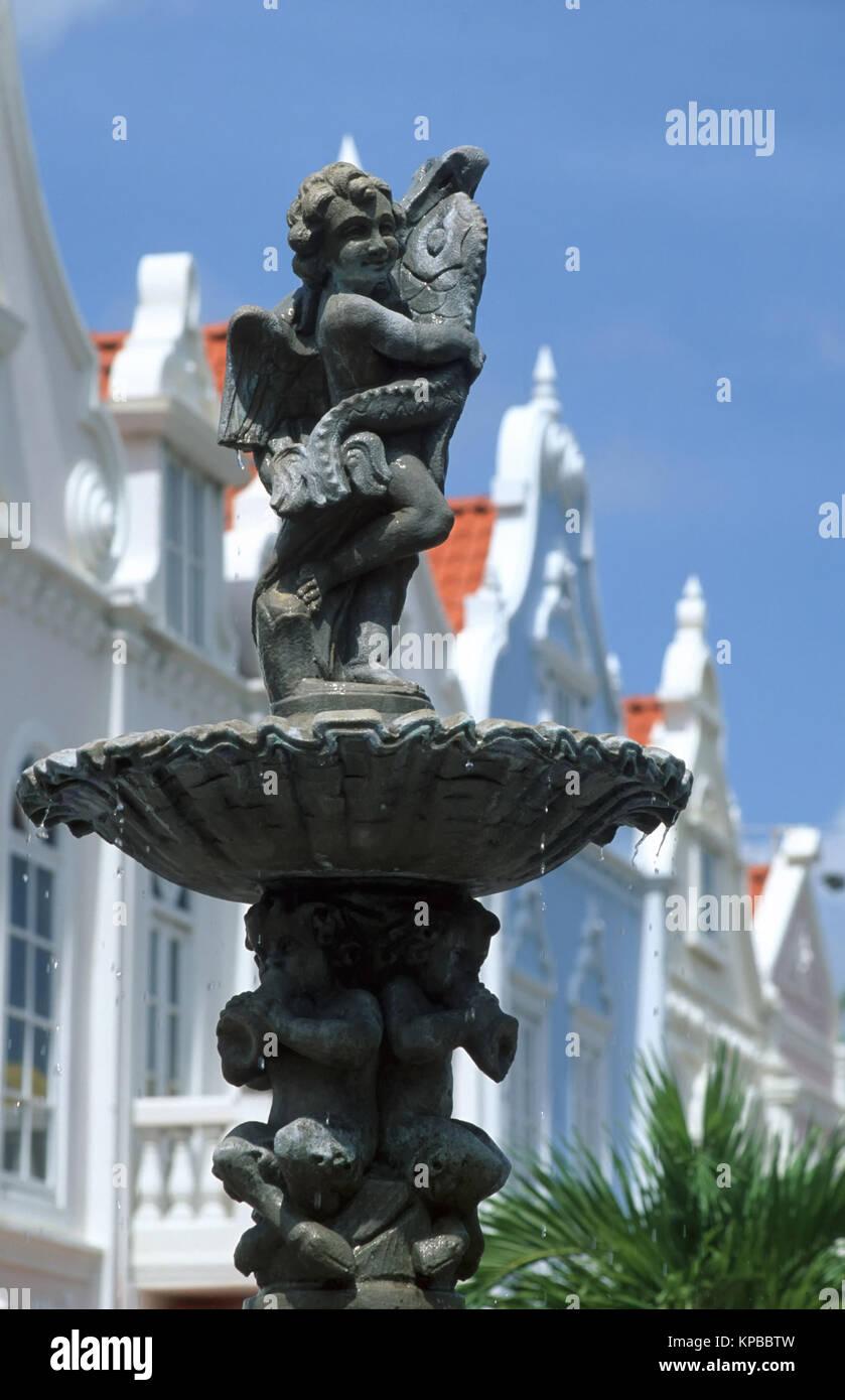 Oranjestad, Brunnen auf der Plaza de Leo, Aruba, Niederländische Antillen Stockbild