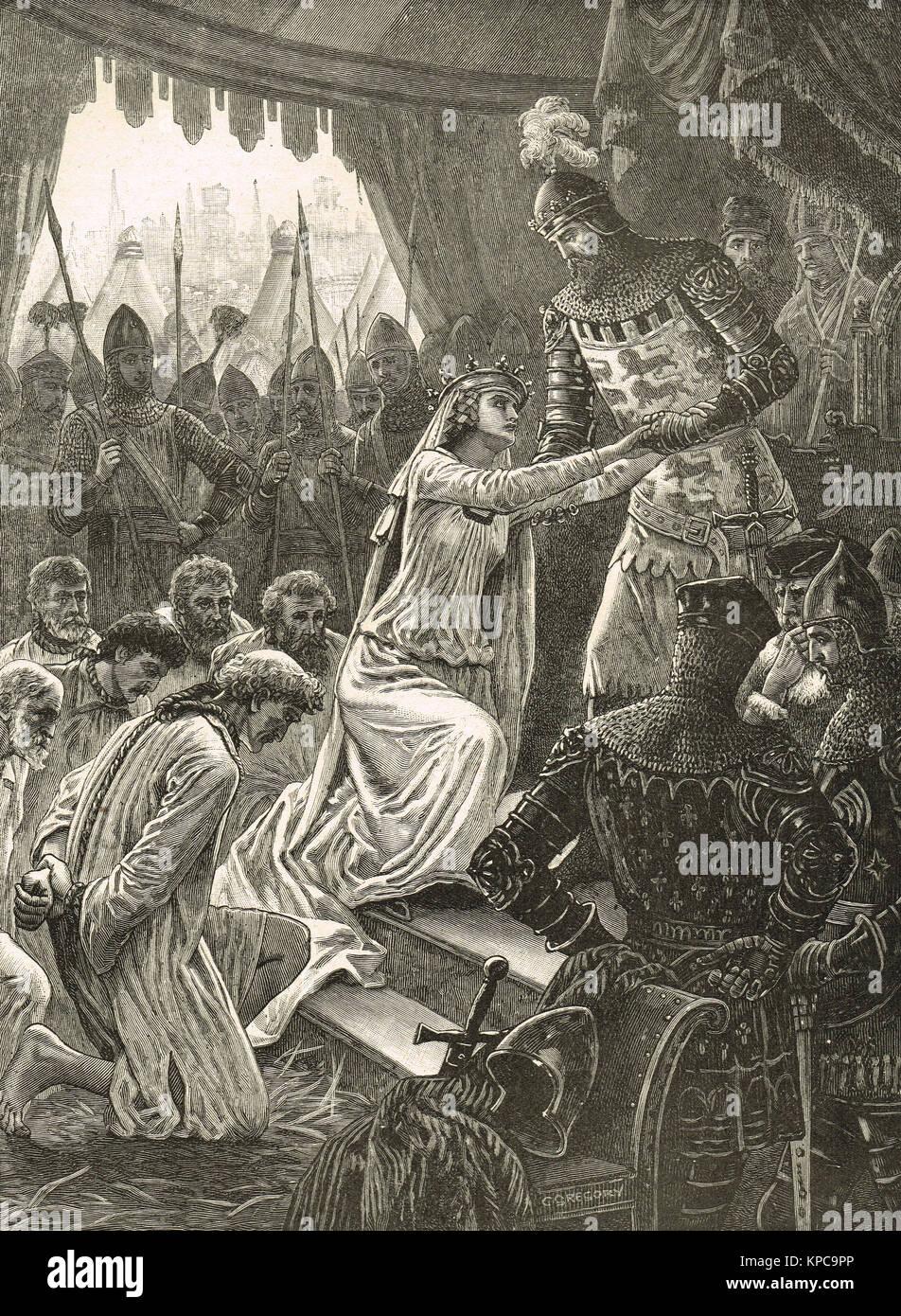 Königin Philippa Fürbitte für die Bürger von Calais, Belagerung von Calais,  August 1347