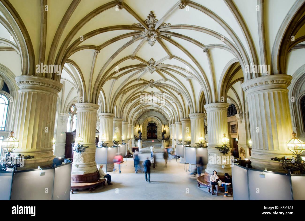 Hamburg, eine der schönsten und beliebtesten Reiseziele der Welt. Das Hamburger Rathaus ist der Sitz des Parlaments Stockbild