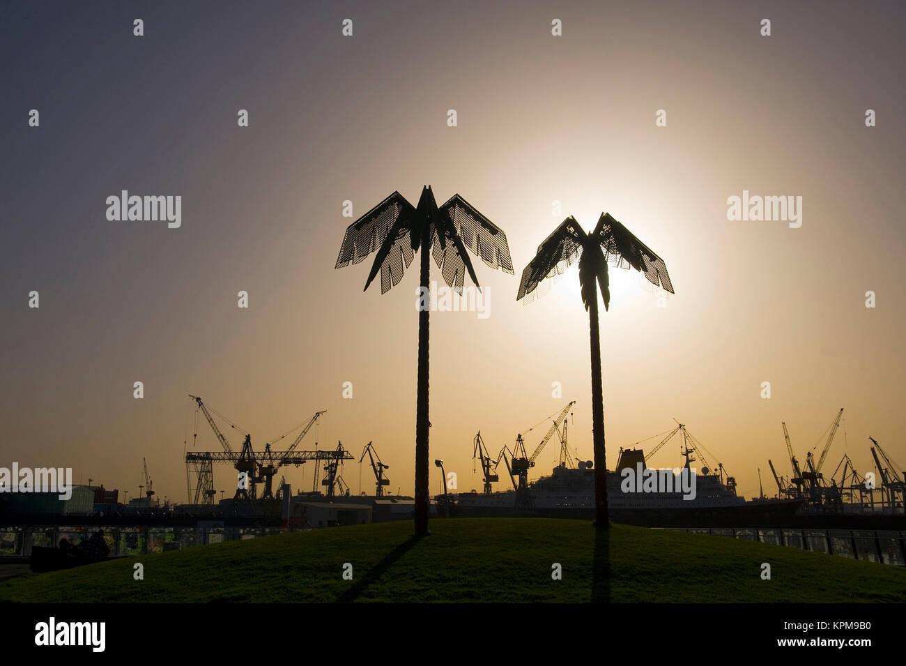 Hamburg, eine der schönsten und beliebtesten Reiseziele der Welt. Künstliche Palmen, Park Fiction, St. Stockbild