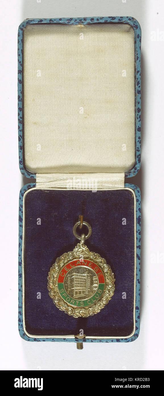 Medaille der Celanese Sports Club, einer beruflichen Club durch die Mitarbeiter der britischen Celanese Chemical Stockbild