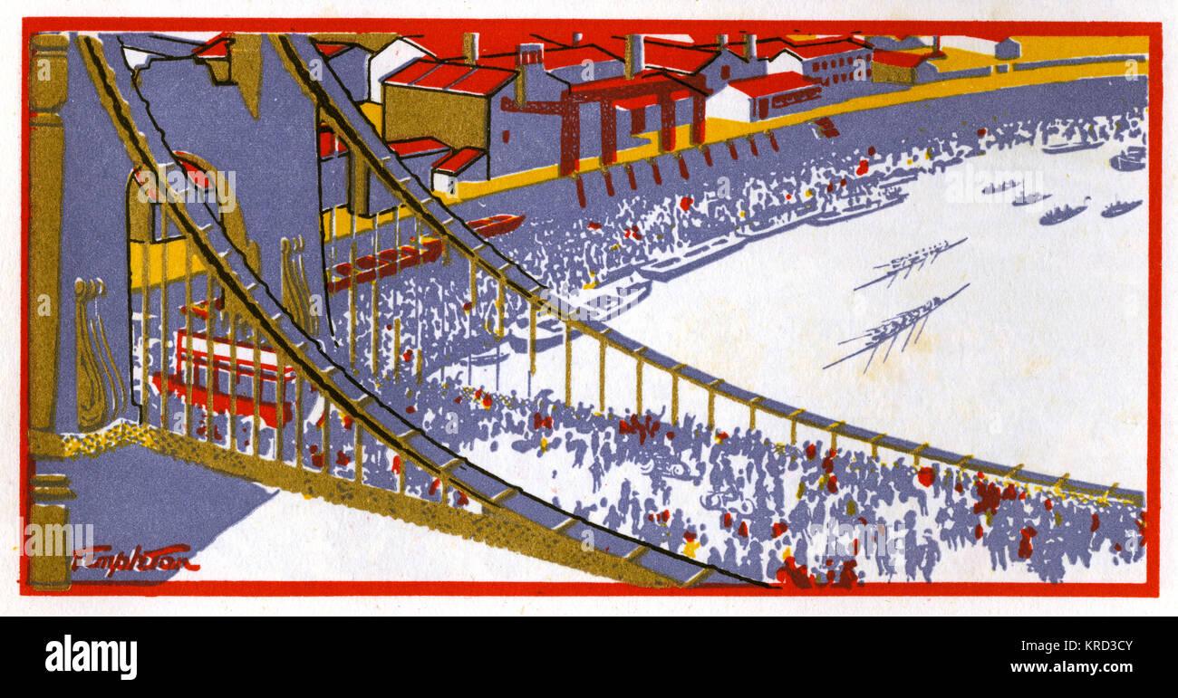 Stilisierte Darstellung der berühmten Regatta entlang der Themse. Datum: 1927 Stockbild
