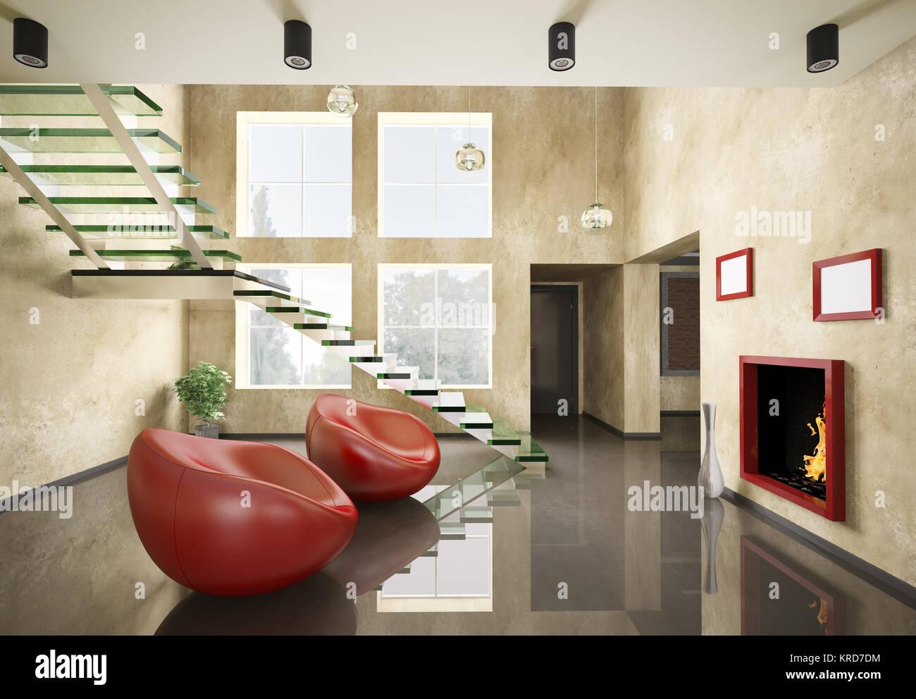 Modernes Interieur mit Glas Treppe und Kamin 3d render Stockfoto ...