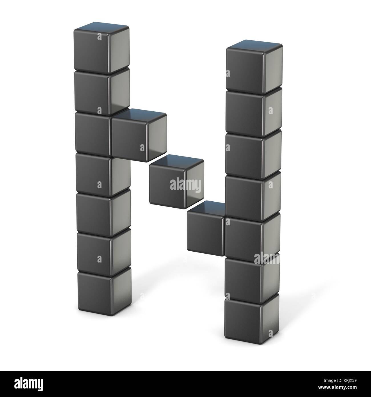 8-bit-Zeichensatz. Großbuchstabe N. 3D Stockfoto, Bild