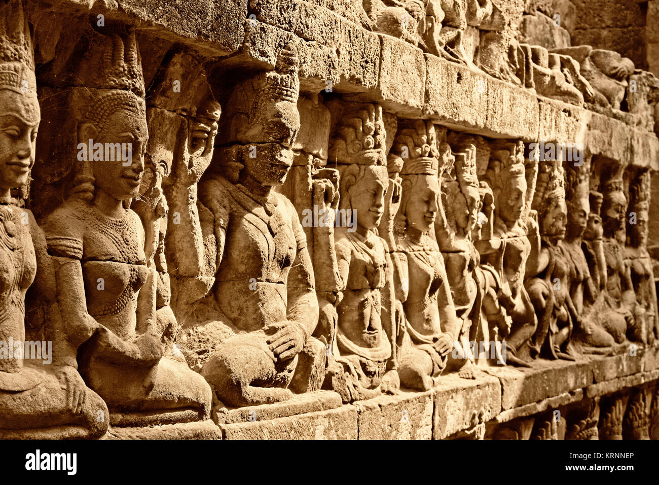 Terasse von Lepra König, Angkor Thom Tempel, Kambodscha, Asien, Stockbild