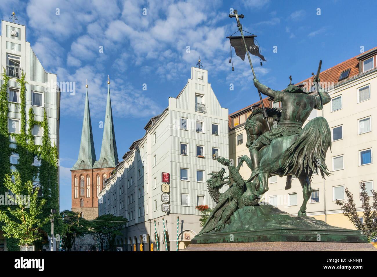 Nicelia quartal Berlin, ehemaligen Ostberlin, Nicolai Kirche Stockbild