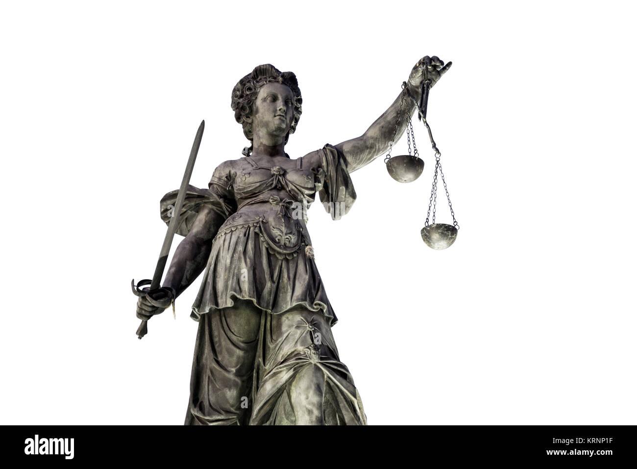 Justitia, die Göttin der Gerechtigkeit, der Brunnen der Gerechtigkeit, Knockout, Roemerberg, Frankfurt, Deutschland Stockbild