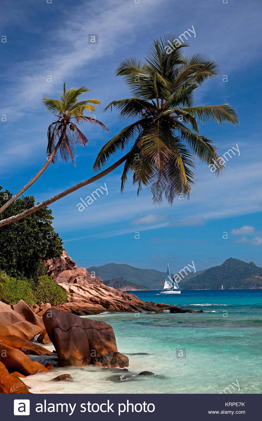 Granit Findlinge am Strand von Anse Schwere, Palmen, Segelboot, La Digue, Praslin, Seychellen, Indischer Ozean, Stockbild