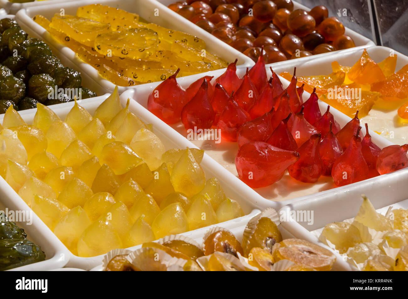 Senf Früchte, Cours Saleya, Nizza, Alpes Maritimes, Provence, Côte d'Azur, Mittelmeer, Frankreich, Stockbild