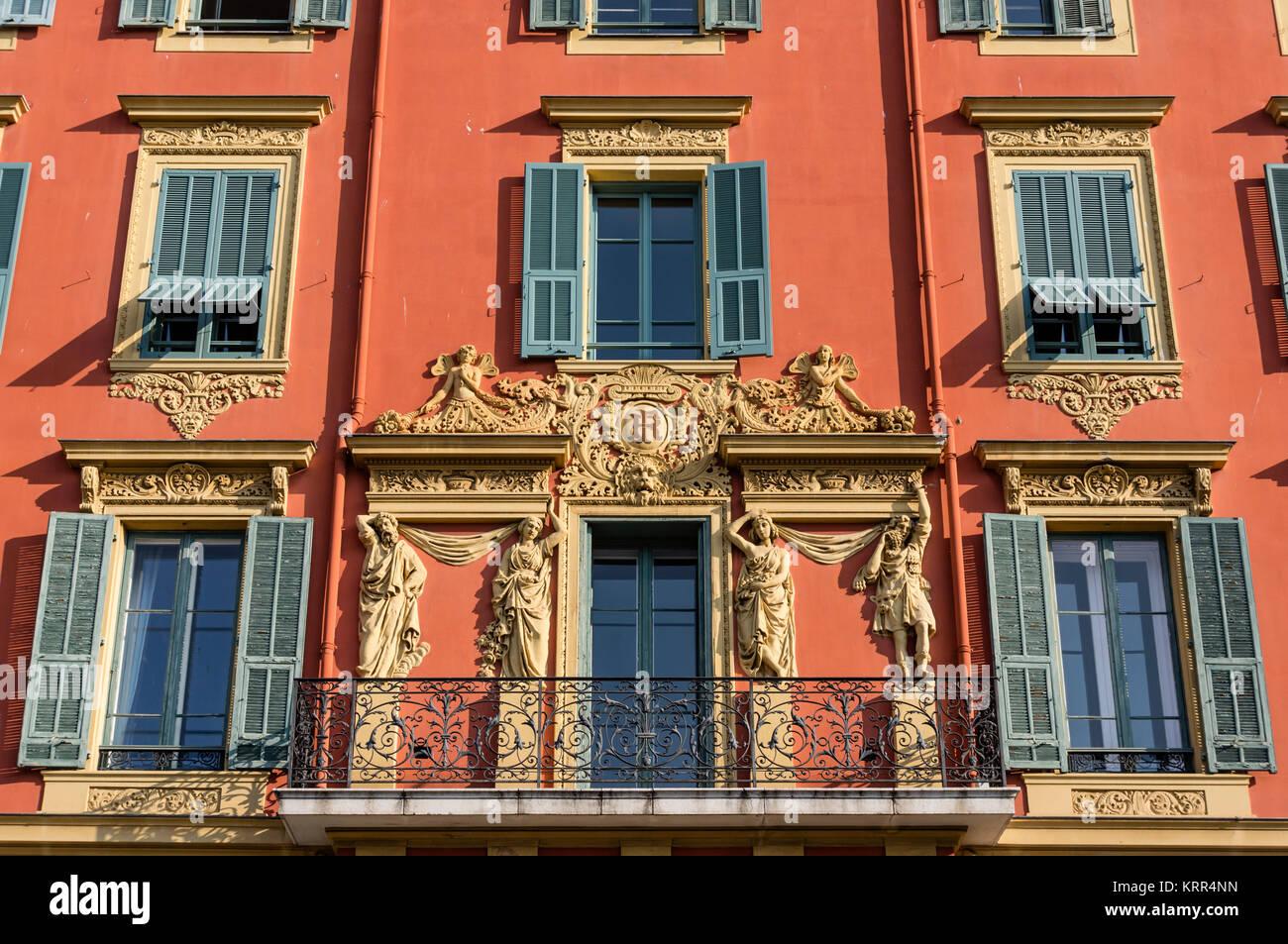 Dekorative Fassade am alten Hafen, schöne, Alpes Maritimes, Provence, Côte d ' Azur, Mittelmeer, Frankreich, Stockbild
