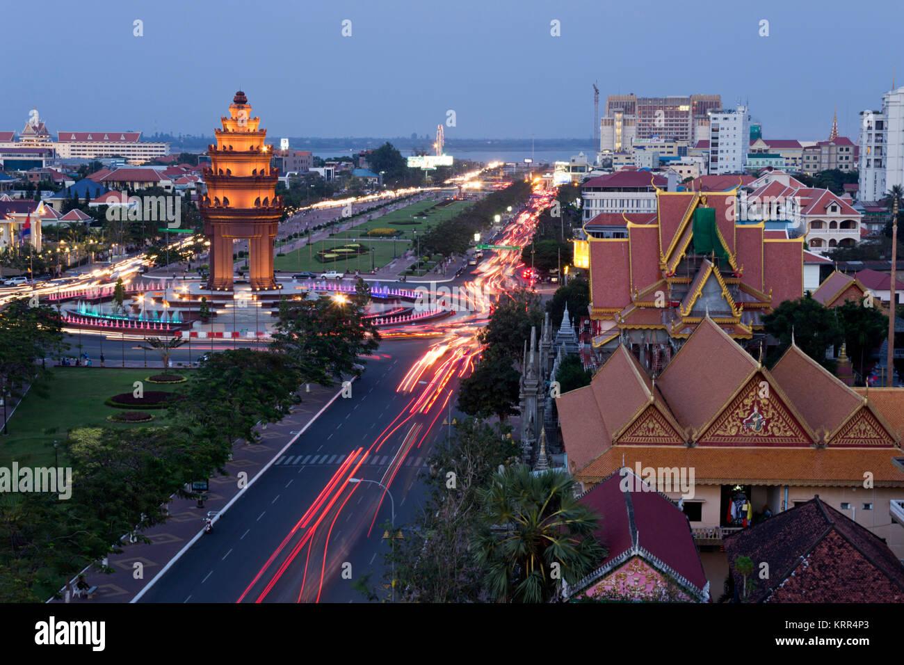 Die Unabhängigkeit Mounument, Phnom Penh, Kambodscha Stockbild