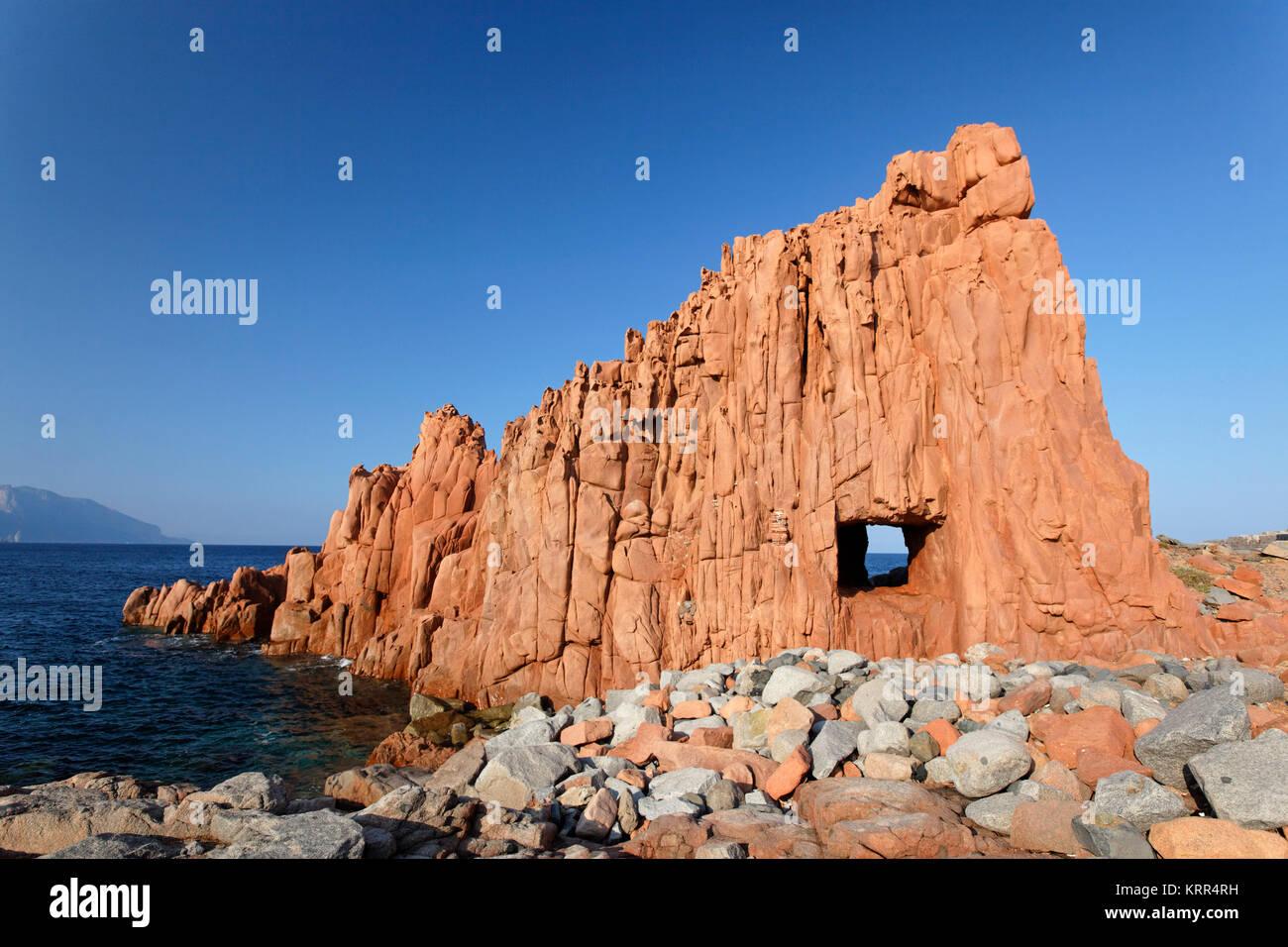 Die roten Felsen von Arbatax, Sardinien, Stockbild