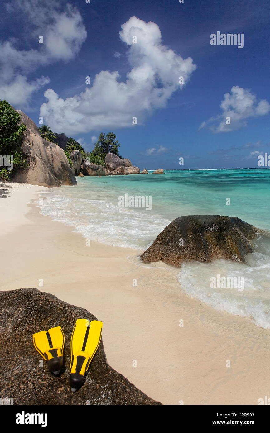 Anse Source D'Argent, La Digue, Seychellen, Indischer Ozean, Afrika Stockbild