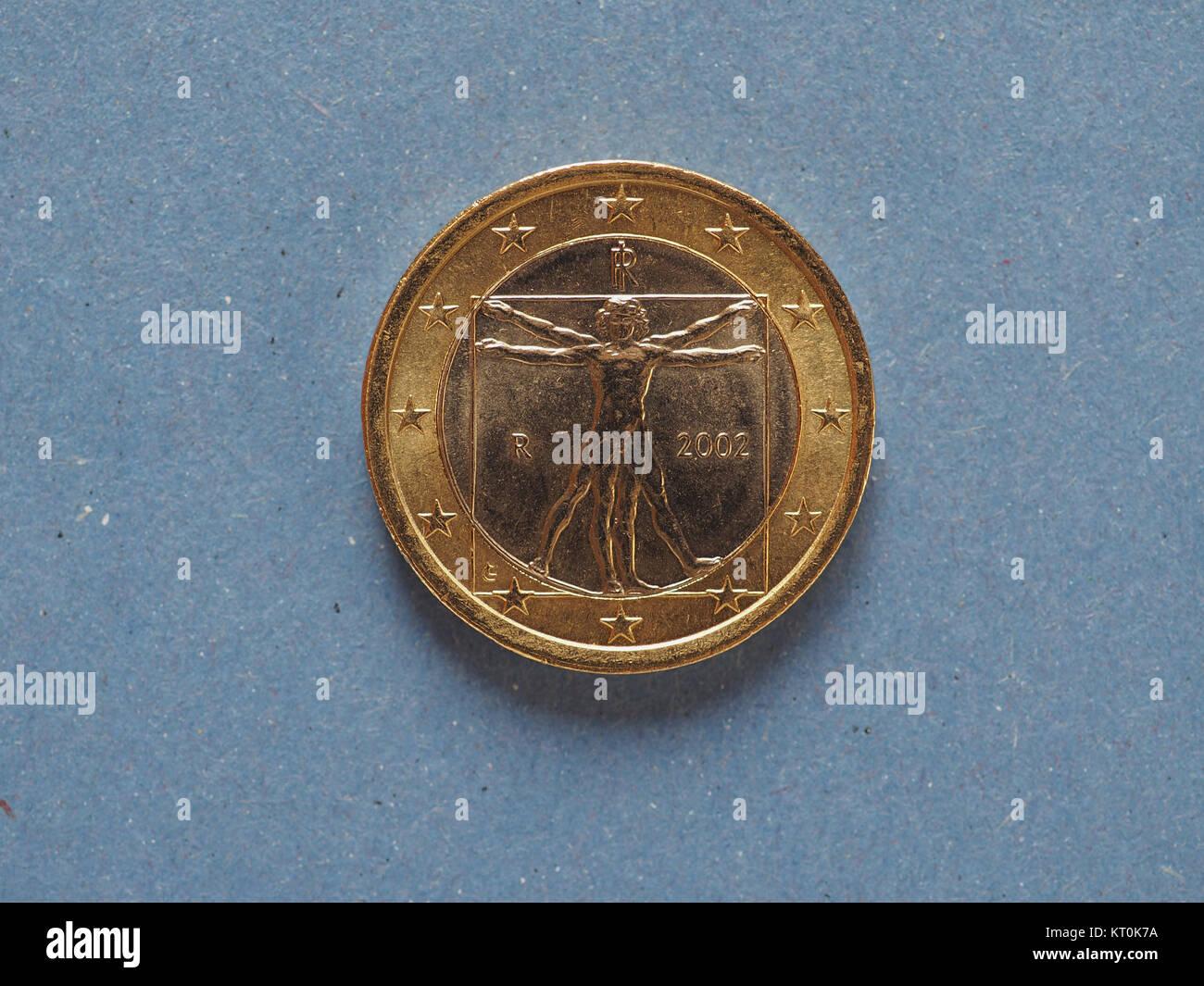 1 Euro Münze Der Europäischen Union Italien über Blau Stockfoto