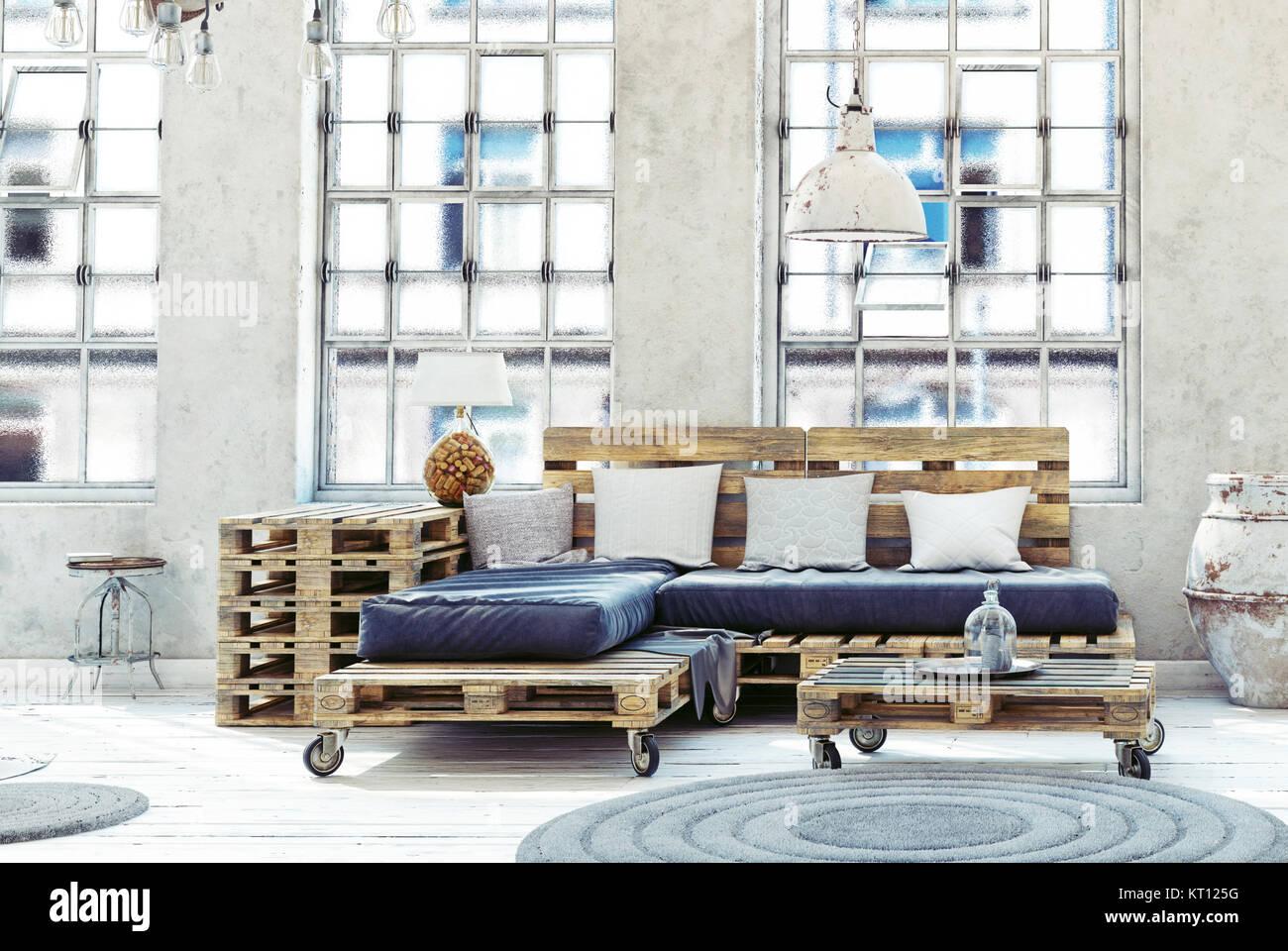 Dachgeschoss Wohnzimmer Eingerichtet. Paletten Möbel. 3D Darstellung