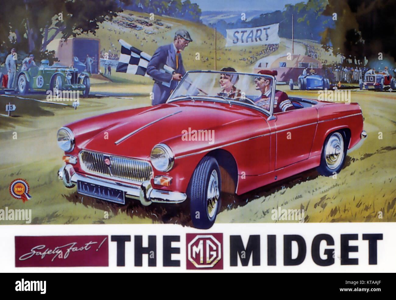 MG Midget 1,1 Liter Sport Auto in einer Anzeige av = Zeitraum 1963 Stockbild