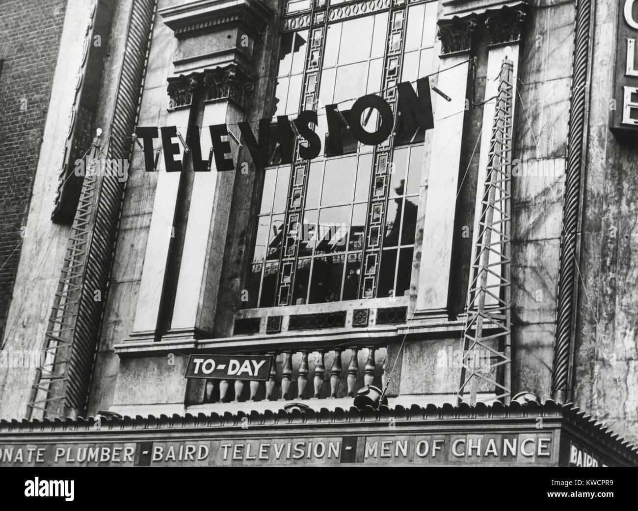 Fernsehen wurde zum ersten Mal in England, Juni 1932 gezeigt. Die Demonstration zeigte das Epson Derby im Kino Metropole. Stockbild