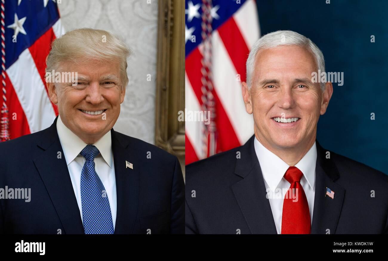 Offizielle Fotos von Präsident Donald Trump und VP Mike Pence, vom Weißen Haus, Oktober 31, 2017 (BSLOC Stockbild