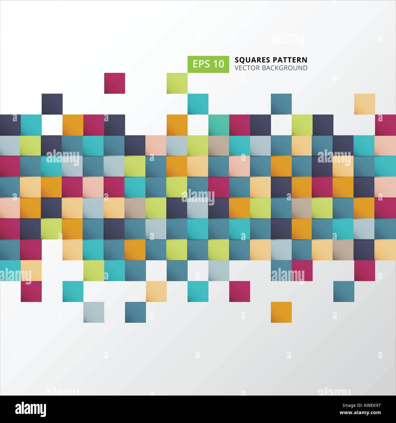 Abstrakte farbenfrohe Quadrate Muster pixel Hintergrund für Print ...