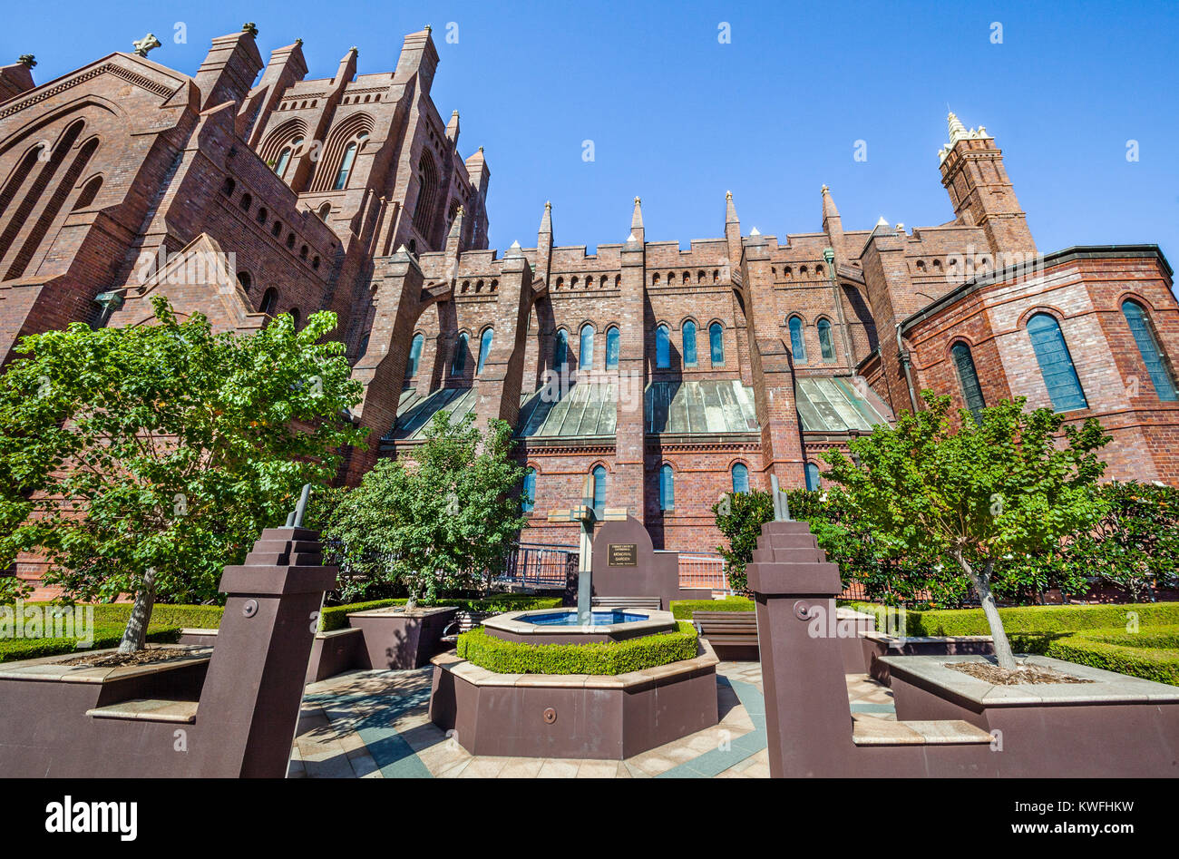 Australien, New South Wales, Newcastle, Blick auf den Neugotischen Stil Christ Church Cathedral (oder Kathedrale Stockbild