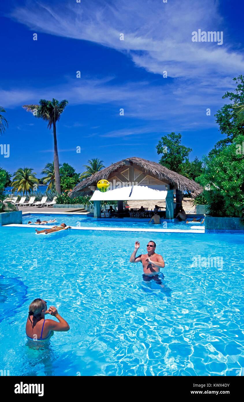 Hotel Pool, Negril, Jamaika Stockbild