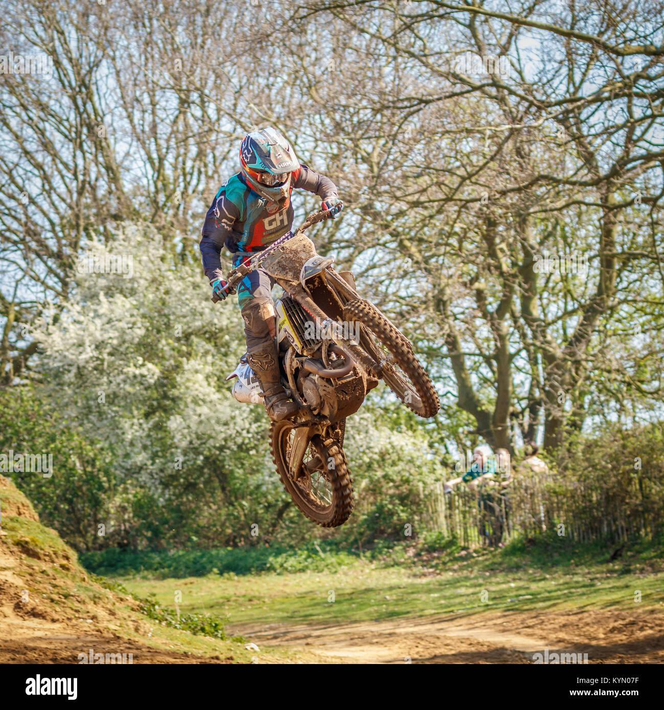 Lukas Parker auf die GH Motorräder GB Finch Husqvarna MX1 Am 2017 Maxxis British Championship, Cadders Hill, Stockbild