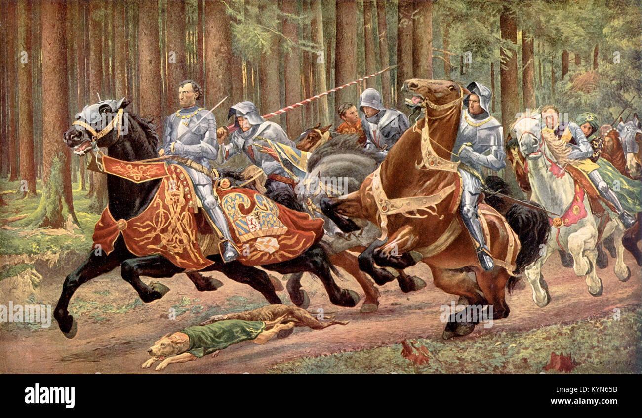 Charles' Flug nach der Schlacht von Enkel, von Eugène Burnand (1894). Karl der Kühne, Herzog von Burgund Stockbild