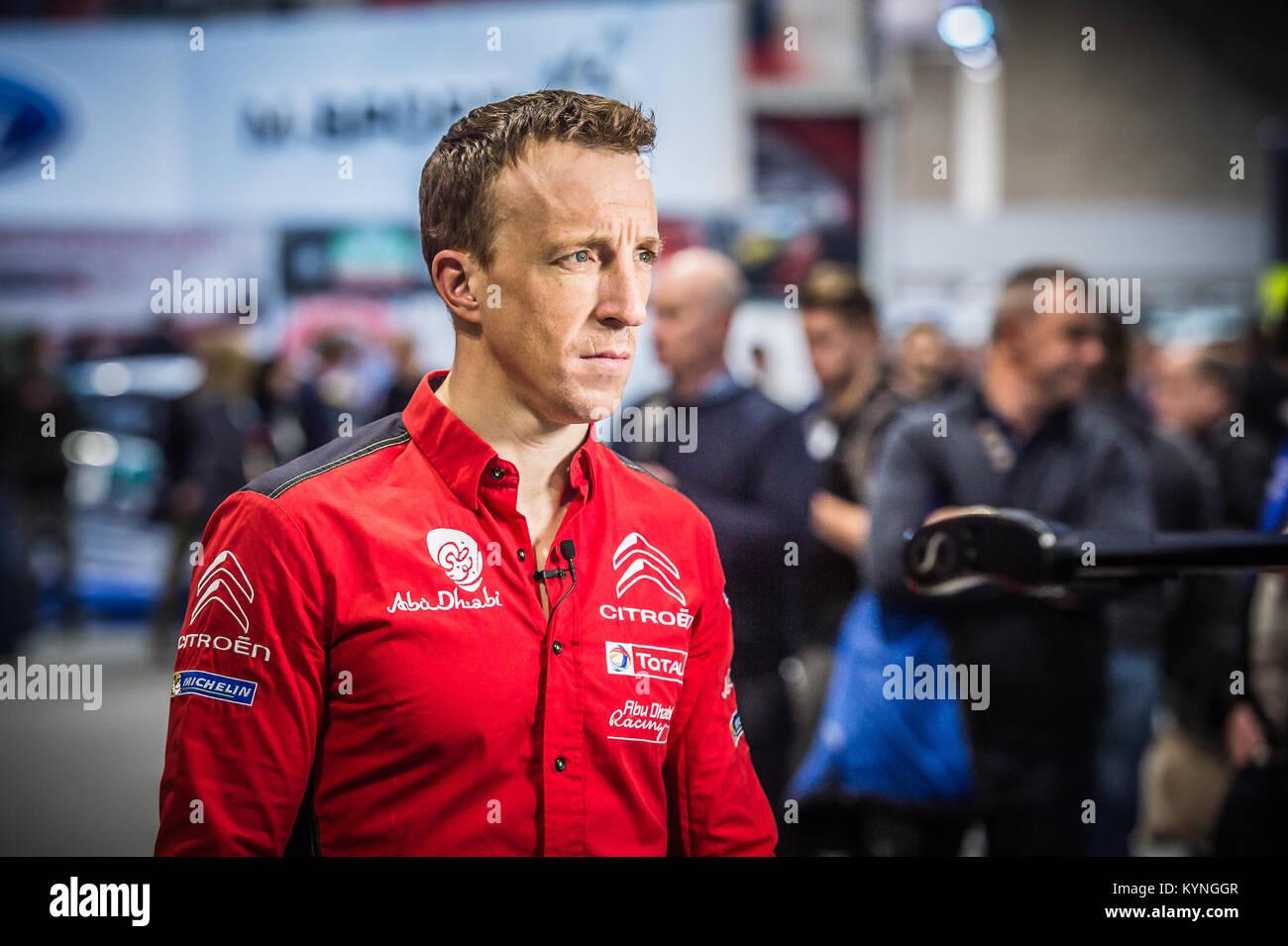 Kris Meeks von Citroen Total Abu Dhabi WRT auf der WRC starten, Autosport International Racing Car Show 2018 bei Stockbild