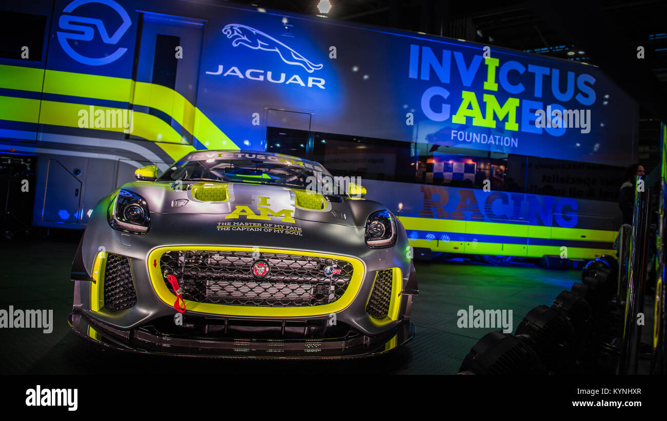 Mission Motorsport starten die Invictus Games Racing Team Jaguar F-Type auf der Autosport International Racing Car Stockbild