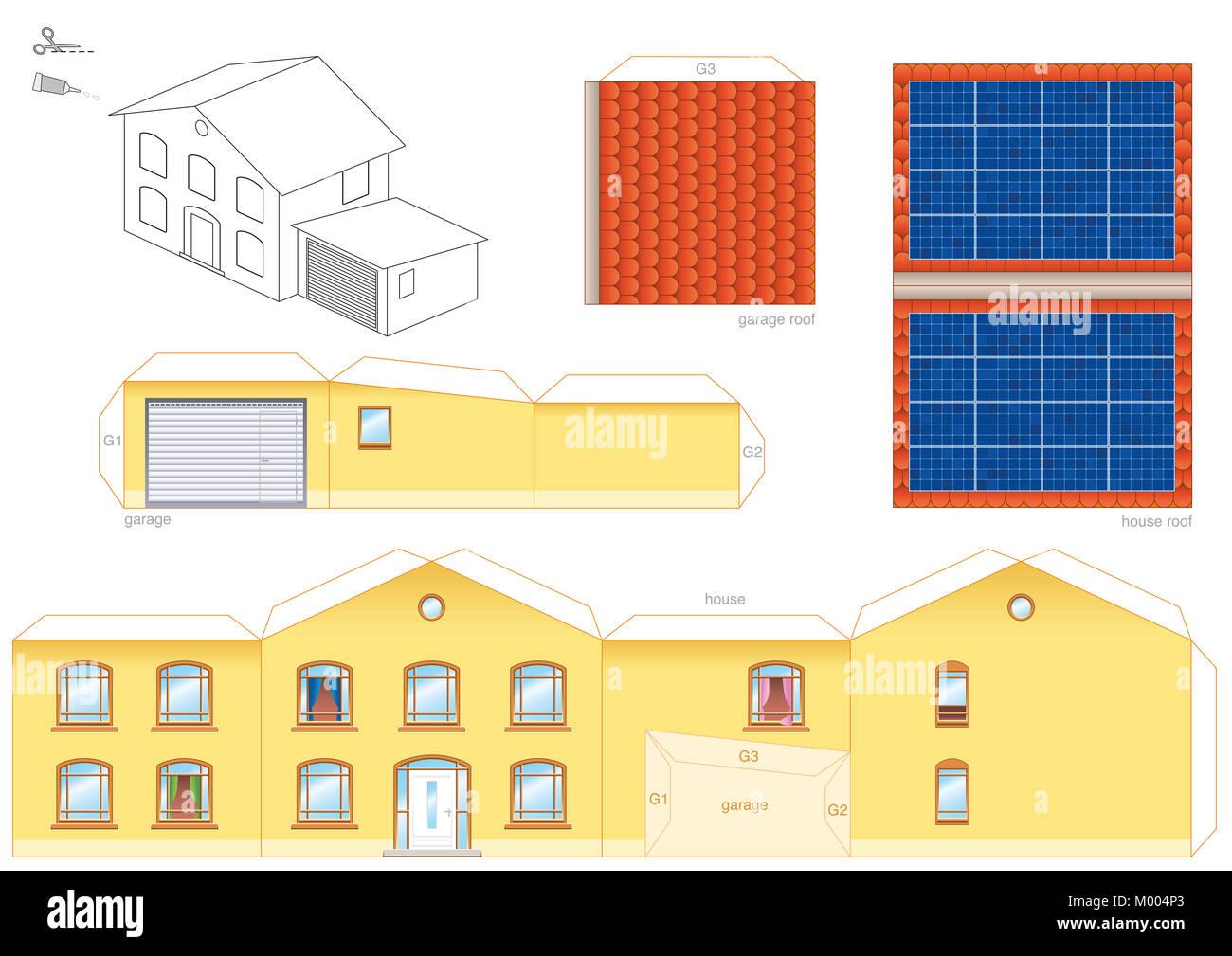 papercraft modell eines hauses mit sonnenkollektoren auf dem dach photovoltaik. Black Bedroom Furniture Sets. Home Design Ideas