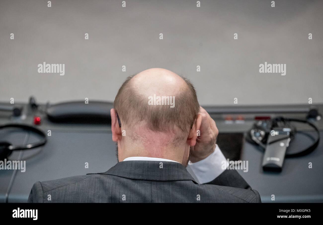 Berlin, Deutschland. 22 Jan, 2018. Der Vorsitzende der Sozialdemokratischen Partei Deutschlands (SPD) Martin Schulz Stockbild