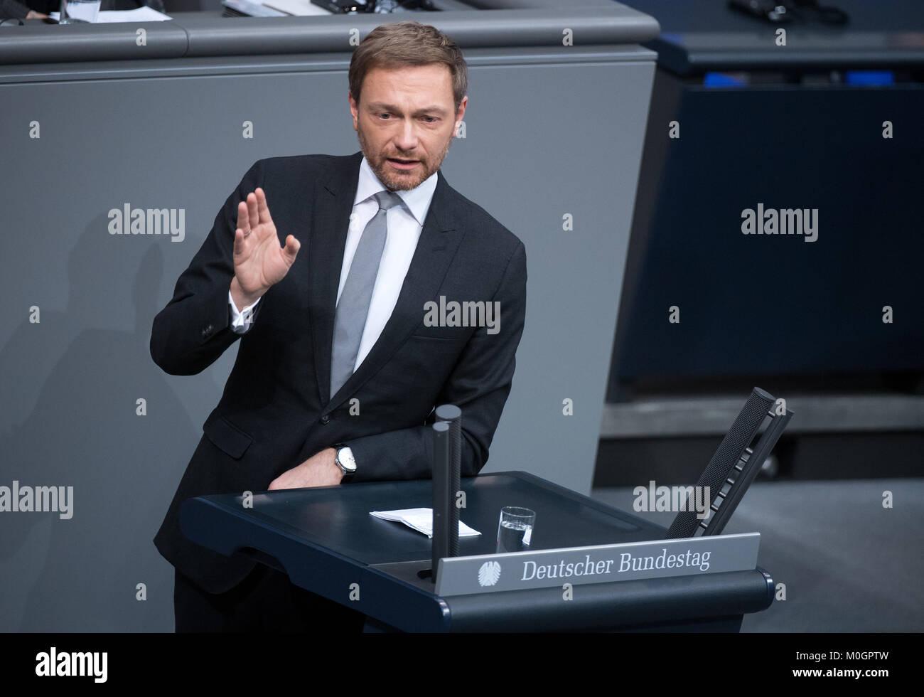 Berlin, Deutschland. 22 Jan, 2018. Freie Demokratische Partei (FDP) leader Christian Lindner spricht im Bundestag Stockbild