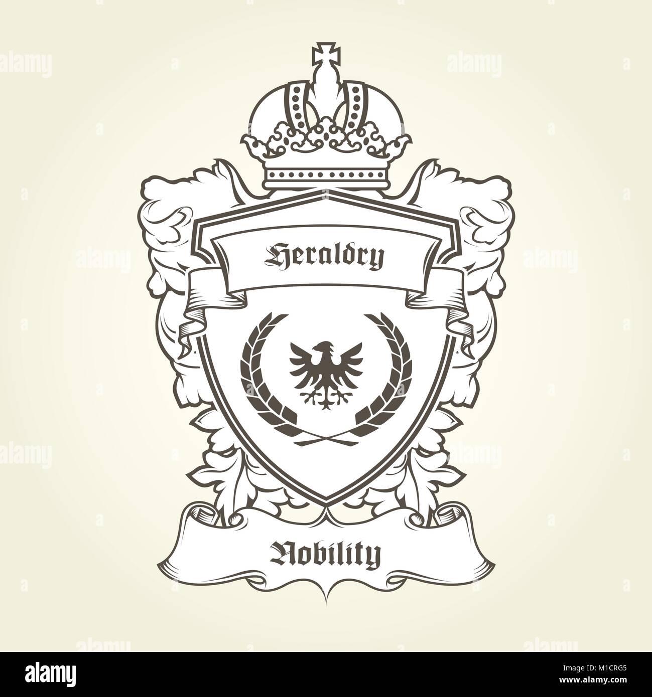 Wappen der Vorlage mit heraldischen Adler, Schild, Krone und Banner ...