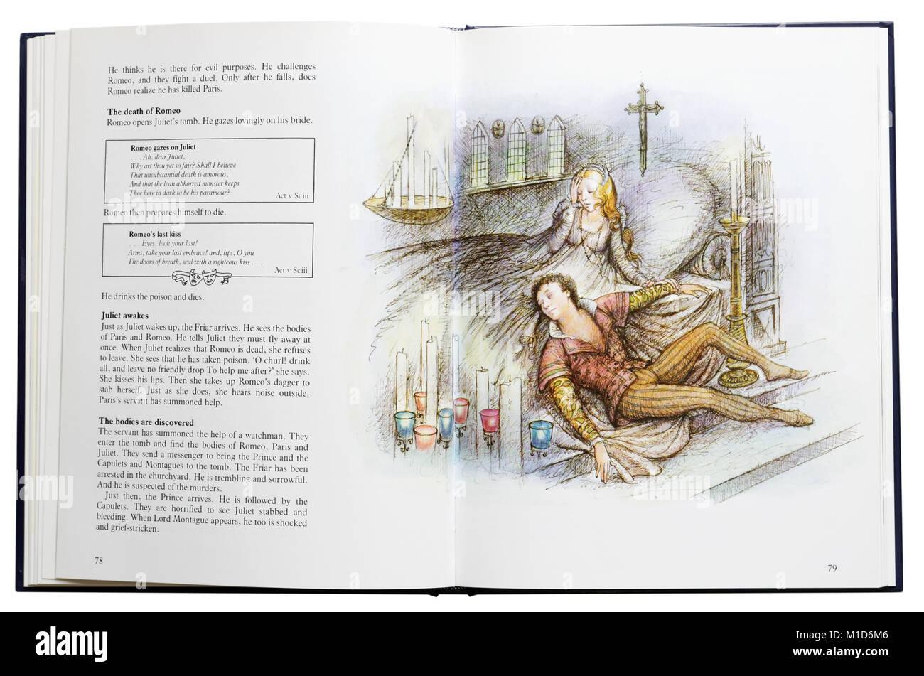 Ein Bildband von Shakespeares Dramen offen über den Tod von Romeo Stockbild