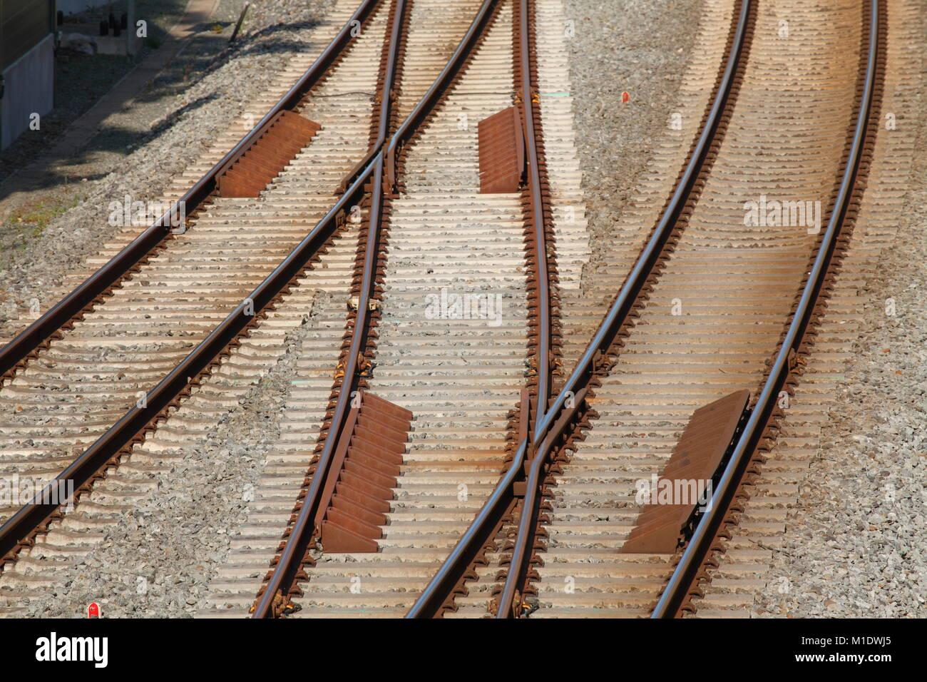 Eisenbahnschienen, Varel, Niedersachsen, Deutschland, Europa ich Eisenbahnschienen, Varel, Niedersachsen, Deutschland, Stockbild