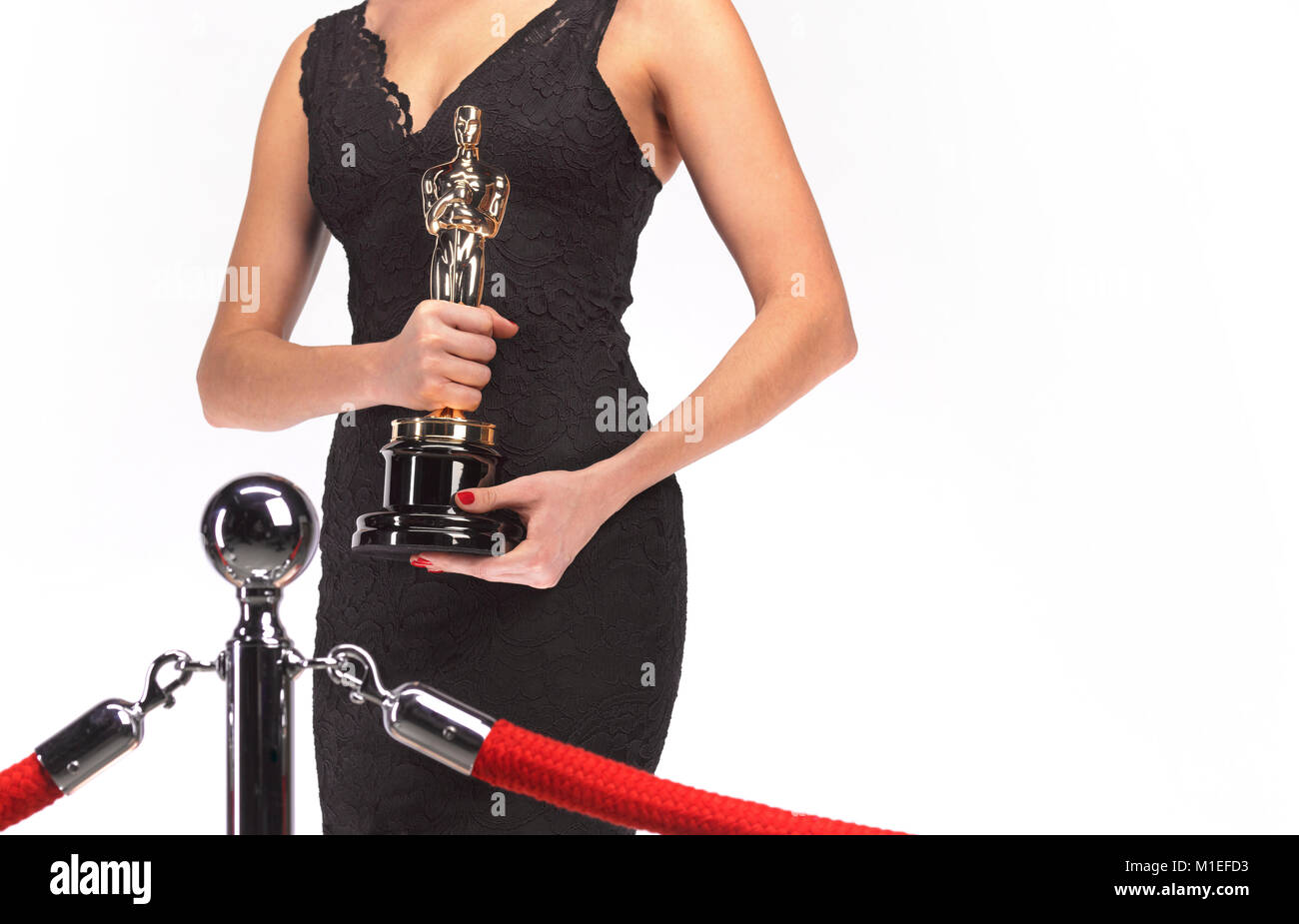 Oscar Statuette von Modell zu Modell gestellt Stockbild