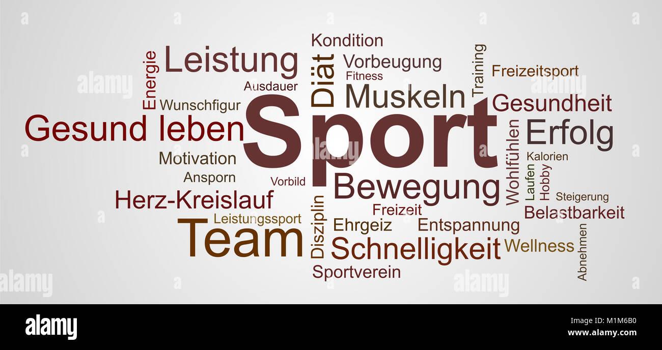 Wortwolke zu Sport, Gesundheit und Helvetica Stockbild