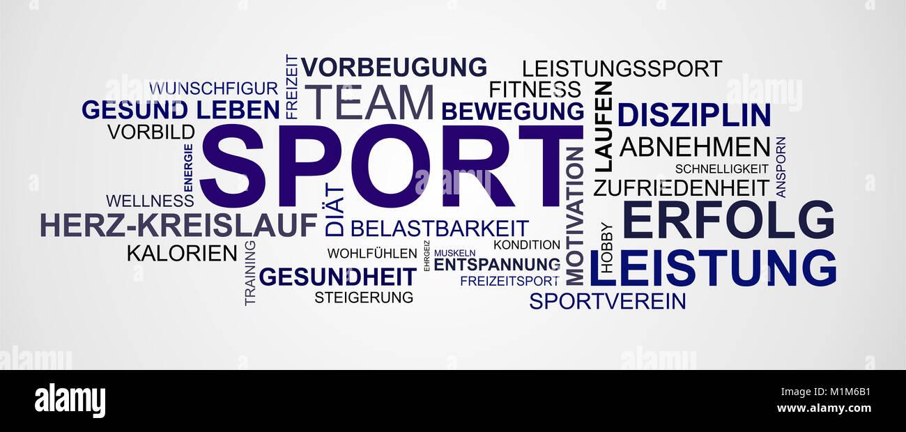 Wortwolke zum Thema Sport und Gesundheit Stockbild